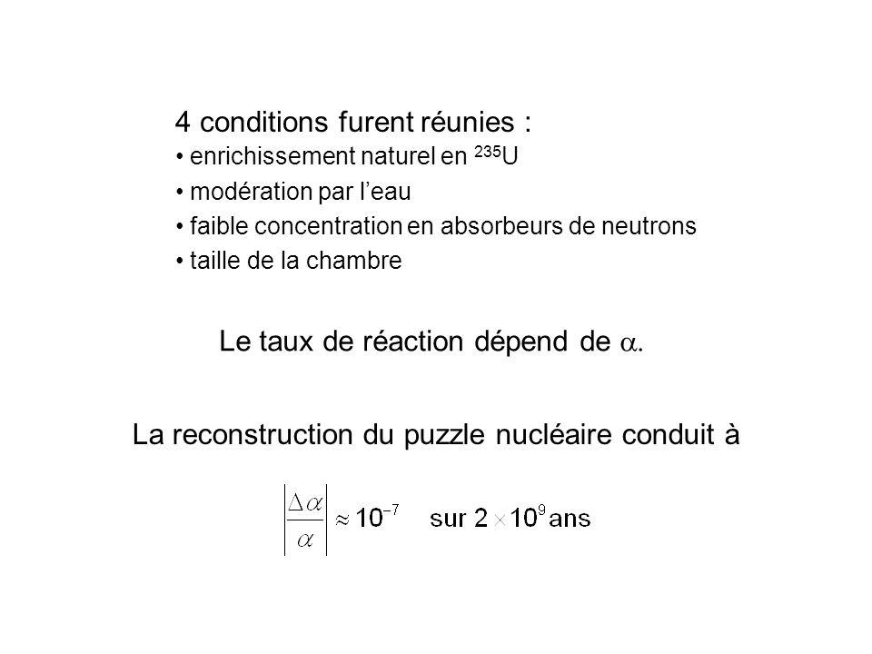 4 conditions furent réunies : enrichissement naturel en 235 U modération par leau faible concentration en absorbeurs de neutrons taille de la chambre