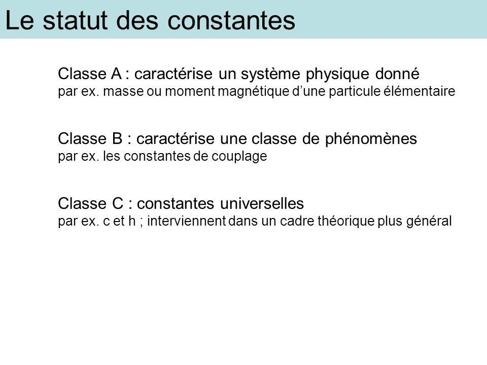 Le statut des constantes Classe A : caractérise un système physique donné par ex. masse ou moment magnétique dune particule élémentaire Classe B : car