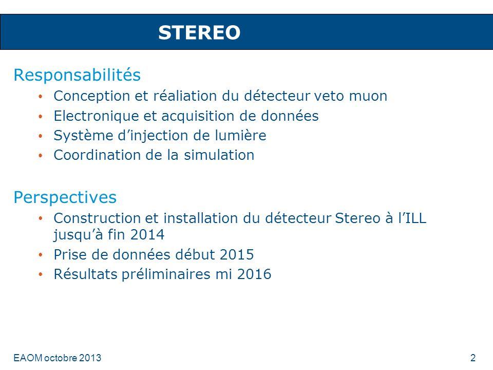 STEREO Responsabilités Conception et réaliation du détecteur veto muon Electronique et acquisition de données Système dinjection de lumière Coordinati