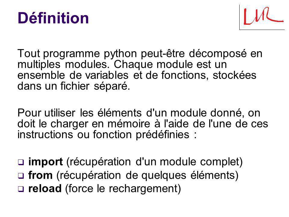 Premier import Effet de la première instruction import mod d un processus : 1) Recherche du fichier mod.py dans sys.path : 1) répertoire original du programme 2) répertoires de PYTHONPATH 3) répertoires standards 2) Compilation, si mod.pyc n est pas à jour.