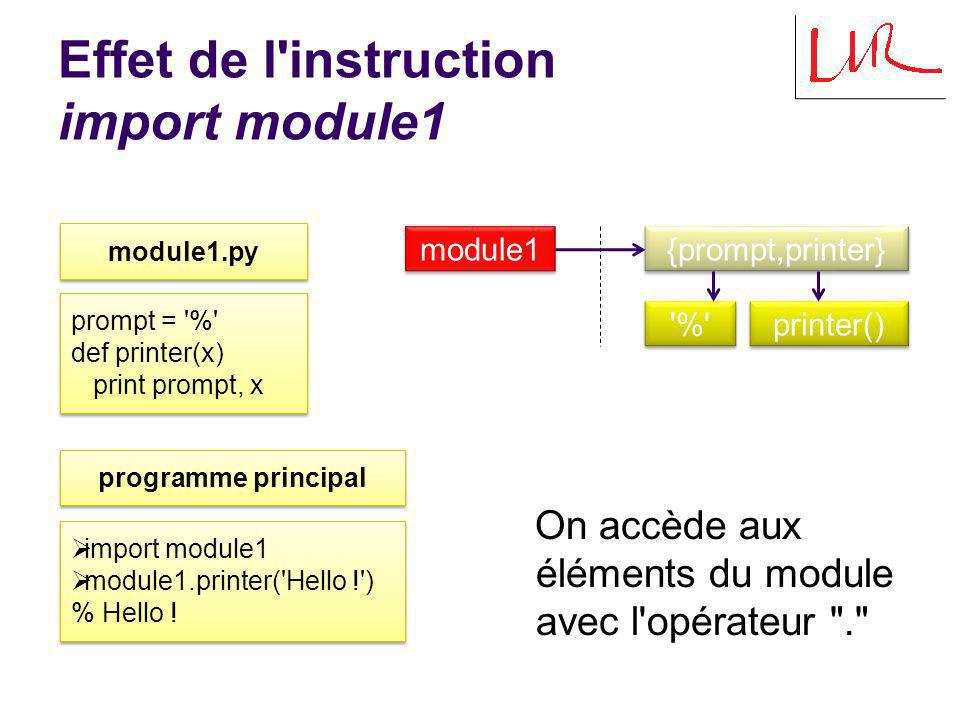 Effet de l'instruction import module1 module1.py prompt = '%' def printer(x) print prompt, x prompt = '%' def printer(x) print prompt, x import module