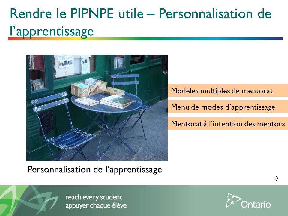 3 Personnalisation de lapprentissage Rendre le PIPNPE utile – Personnalisation de lapprentissage Modèles multiples de mentorat Menu de modes dapprentissage Mentorat à lintention des mentors