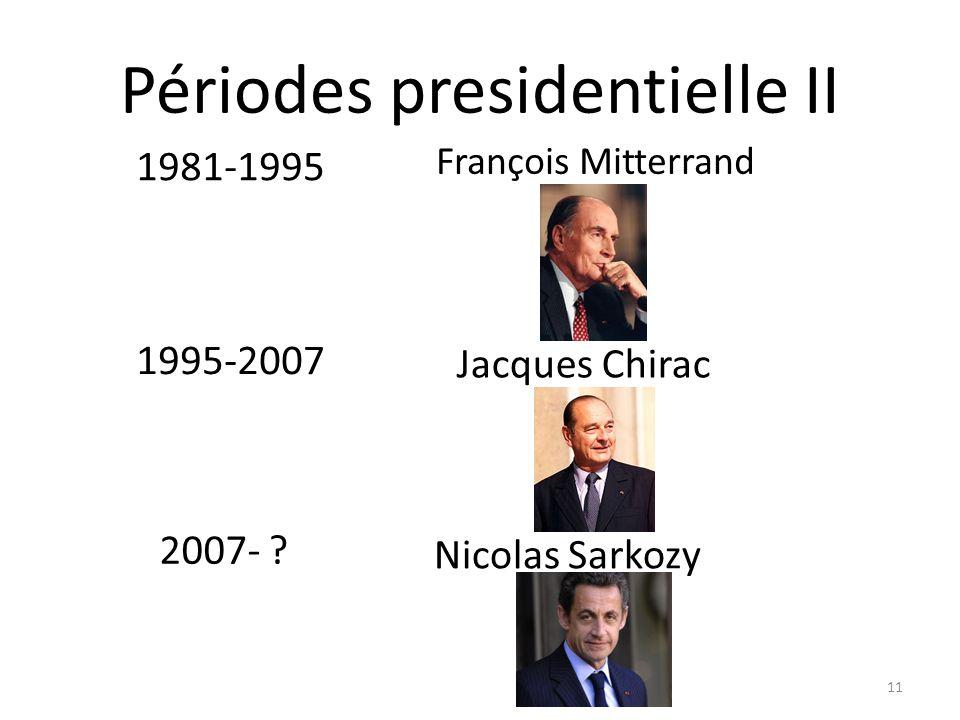 Périodes presidentielle II François Mitterrand 11 Nicolas Sarkozy Jacques Chirac 2007- .