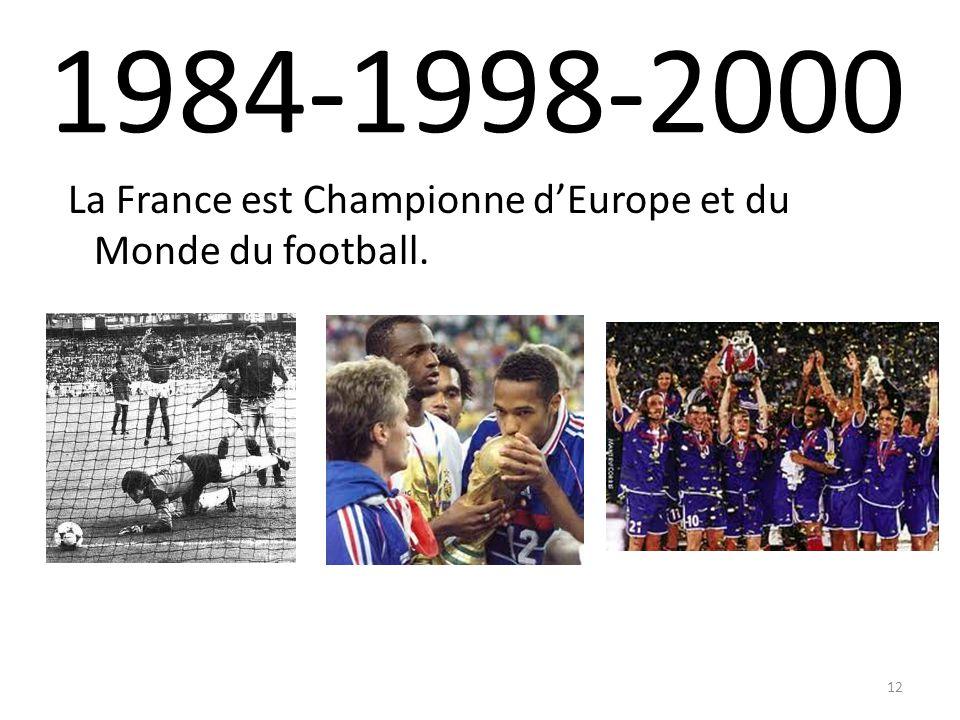 1984-1998-2000 La France est Championne dEurope et du Monde du football. 12