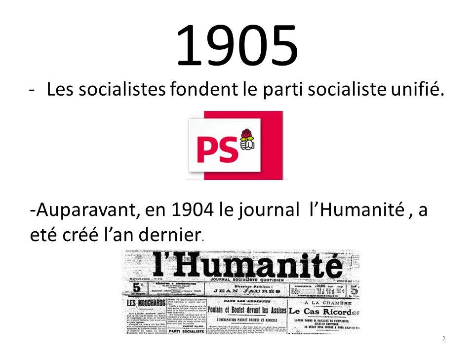 1905 -Les socialistes fondent le parti socialiste unifié.