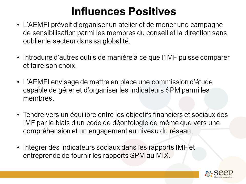 Influences Positives LAEMFI prévoit dorganiser un atelier et de mener une campagne de sensibilisation parmi les membres du conseil et la direction sans oublier le secteur dans sa globalité.