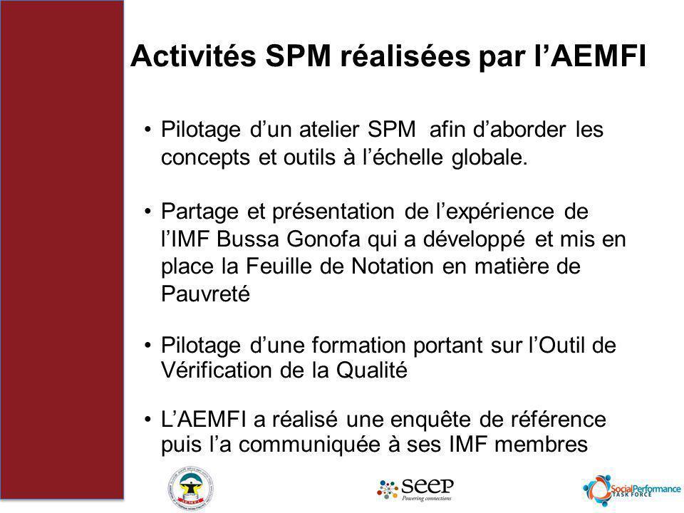 Activités SPM réalisées par lAEMFI Pilotage dun atelier SPM afin daborder les concepts et outils à léchelle globale. Partage et présentation de lexpér