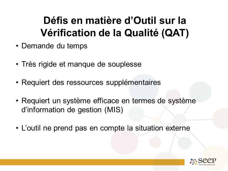 Défis en matière dOutil sur la Vérification de la Qualité (QAT) Demande du temps Très rigide et manque de souplesse Requiert des ressources supplémentaires Requiert un système efficace en termes de système dinformation de gestion (MIS) Loutil ne prend pas en compte la situation externe