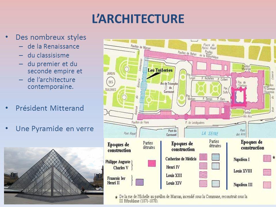LARCHITECTURE Des nombreux styles – de la Renaissance – du classisisme – du premier et du seconde empire et – de larchitecture contemporaine. Présiden