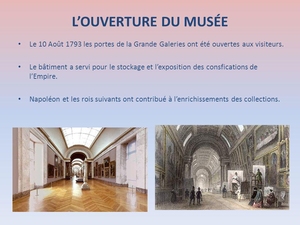 LOUVERTURE DU MUSÉE Le 10 Août 1793 les portes de la Grande Galeries ont été ouvertes aux visiteurs. Le bâtiment a servi pour le stockage et lexpositi
