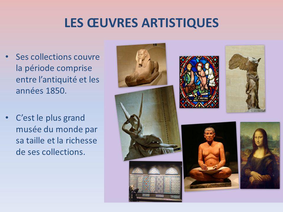 Ses collections couvre la période comprise entre lantiquité et les années 1850. Cest le plus grand musée du monde par sa taille et la richesse de ses