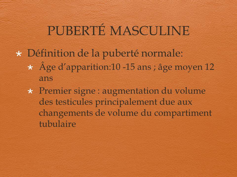 PUBERTÉ MASCULINE Définition de la puberté normale: Âge dapparition:10 -15 ans ; âge moyen 12 ans Premier signe : augmentation du volume des testicule
