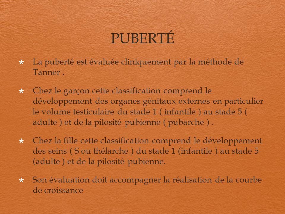 PUBERTÉ La puberté est évaluée cliniquement par la méthode de Tanner. Chez le garçon cette classification comprend le développement des organes génita