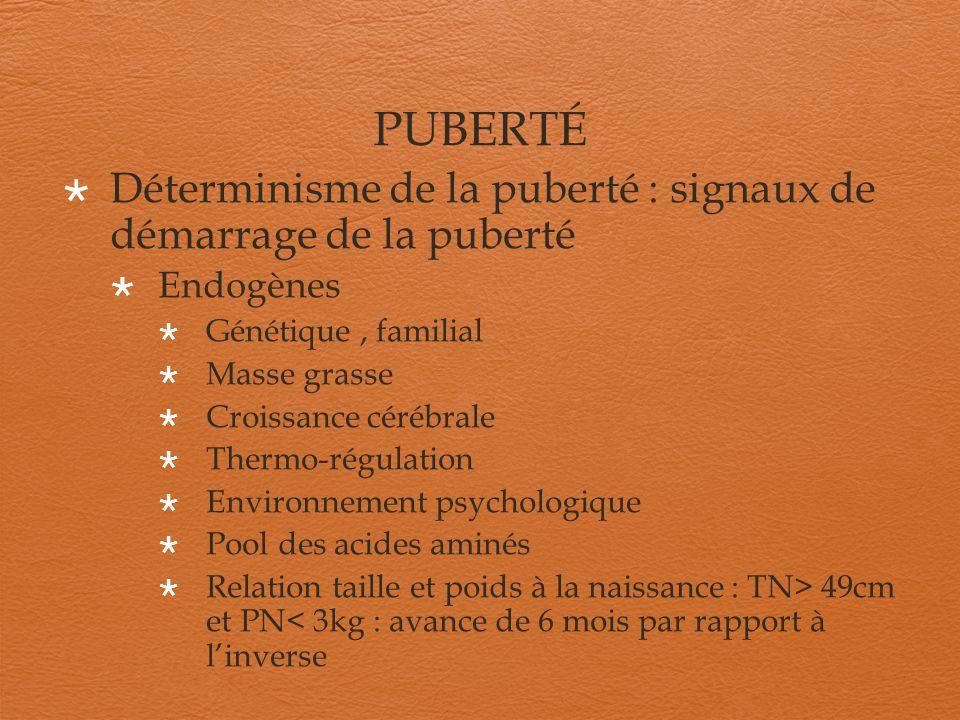 PUBERTÉ Déterminisme de la puberté : signaux de démarrage de la puberté Endogènes Génétique, familial Masse grasse Croissance cérébrale Thermo-régulat