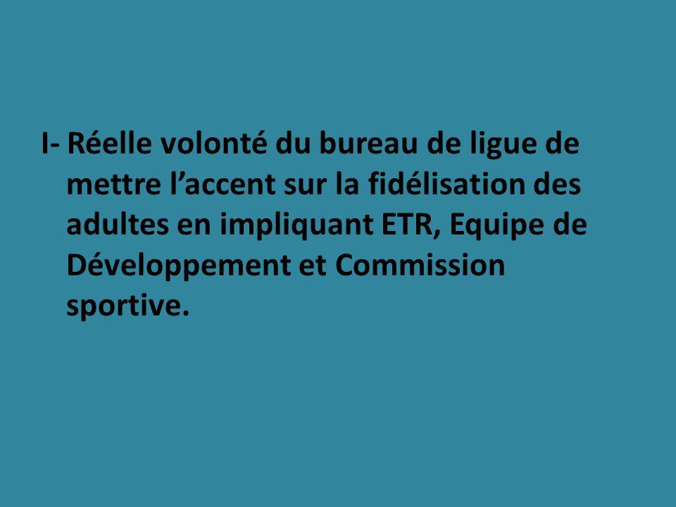 I- Réelle volonté du bureau de ligue de mettre laccent sur la fidélisation des adultes en impliquant ETR, Equipe de Développement et Commission sportive.