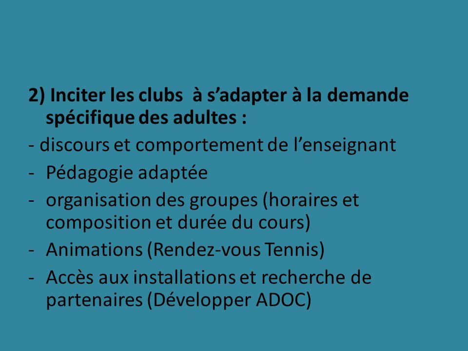 2) Inciter les clubs à sadapter à la demande spécifique des adultes : - discours et comportement de lenseignant -Pédagogie adaptée -organisation des groupes (horaires et composition et durée du cours) -Animations (Rendez-vous Tennis) -Accès aux installations et recherche de partenaires (Développer ADOC)