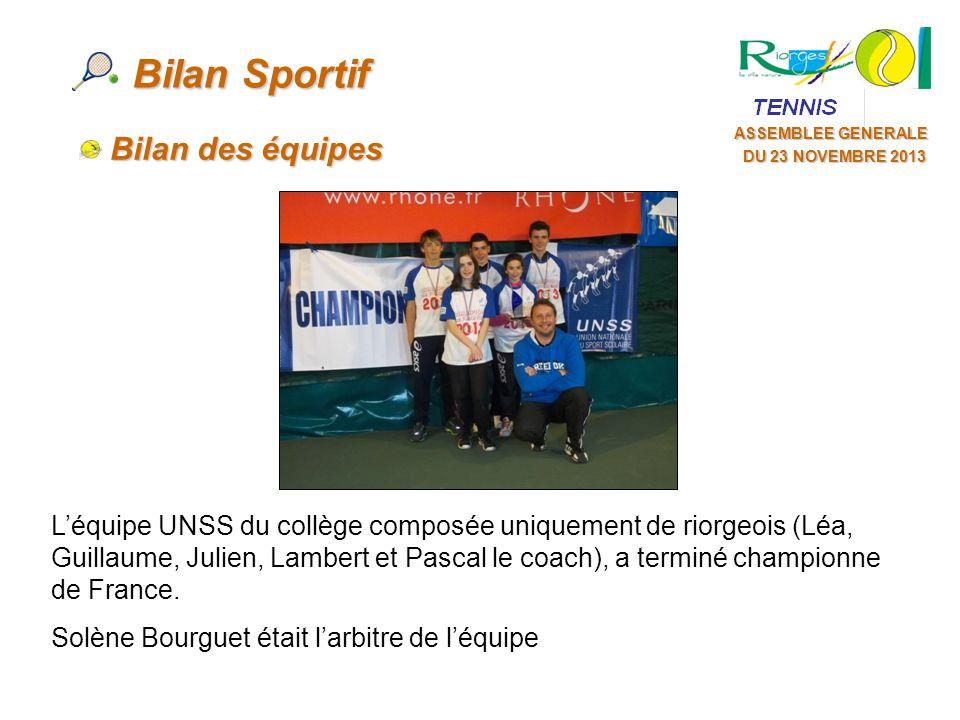 ASSEMBLEE GENERALE DU 16 NOVEMBRE 2013 Bilan Sportif Bilan des équipes Léquipe UNSS du collège composée uniquement de riorgeois (Léa, Guillaume, Julien, Lambert et Pascal le coach), a terminé championne de France.