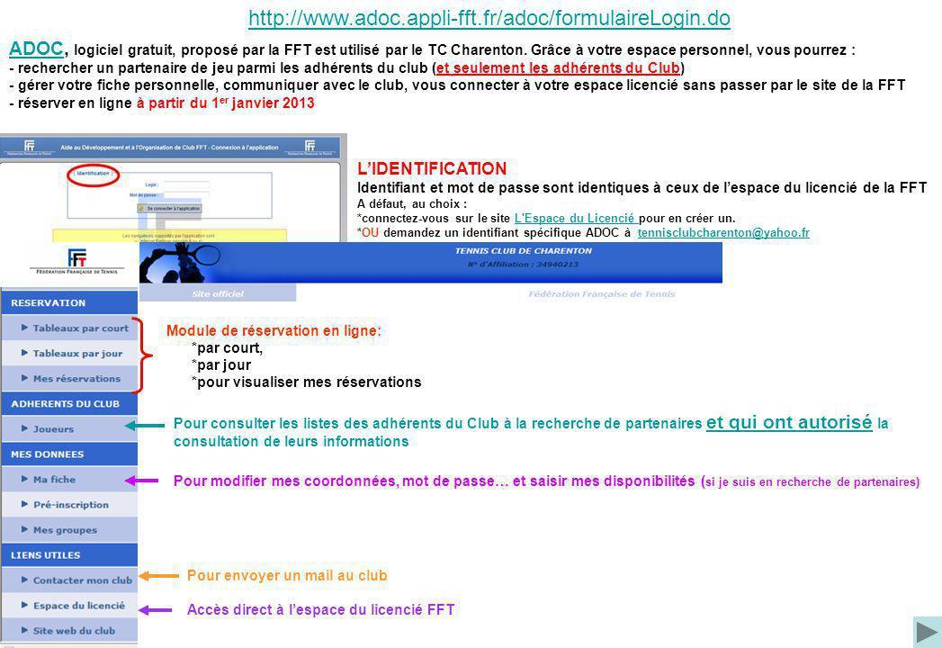 http://www.adoc.appli-fft.fr/adoc/formulaireLogin.do ADOCADOC, logiciel gratuit, proposé par la FFT est utilisé par le TC Charenton. Grâce à votre esp