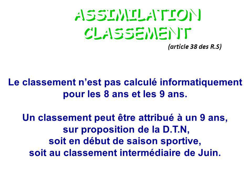 ASSIMILATION CLASSEMENT (article 38 des R.S) Le classement nest pas calculé informatiquement pour les 8 ans et les 9 ans.