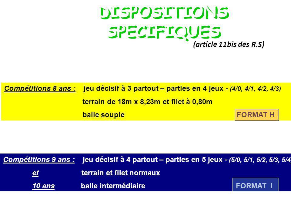 Compétitions 8 ans : jeu décisif à 3 partout – parties en 4 jeux - (4/0, 4/1, 4/2, 4/3) terrain de 18m x 8,23m et filet à 0,80m balle soupleFORMAT H Compétitions 9 ans : jeu décisif à 4 partout – parties en 5 jeux - (5/0, 5/1, 5/2, 5/3, 5/4) et terrain et filet normaux 10 ans balle intermédiaireFORMAT I DISPOSITIONS SPECIFIQUES (article 11bis des R.S)