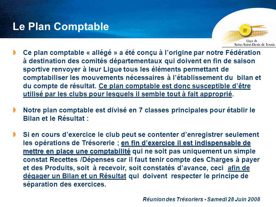 Réunion des Trésoriers - Samedi 28 Juin 2008 Le Plan Comptable Ce plan comptable « allégé » a été conçu à lorigine par notre Fédération à destination