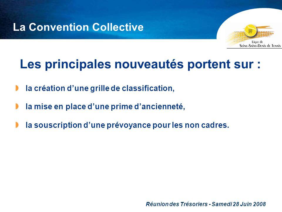 Réunion des Trésoriers - Samedi 28 Juin 2008 La Convention Collective Les principales nouveautés portent sur : la création dune grille de classificati