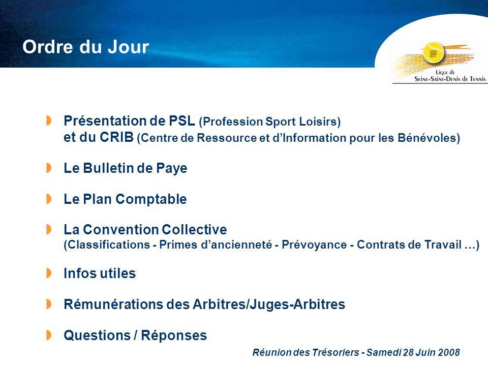 Réunion des Trésoriers - Samedi 28 Juin 2008 Ordre du Jour Présentation de PSL (Profession Sport Loisirs) et du CRIB (Centre de Ressource et dInformat