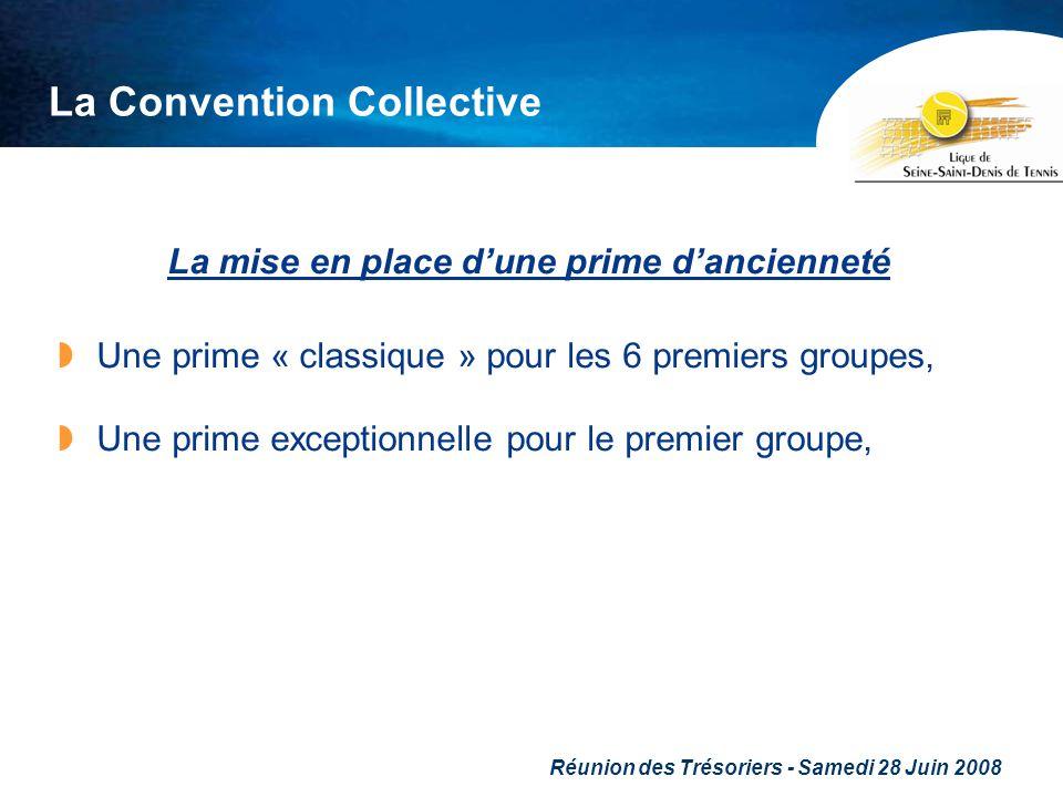 Réunion des Trésoriers - Samedi 28 Juin 2008 La Convention Collective La mise en place dune prime dancienneté Une prime « classique » pour les 6 premi
