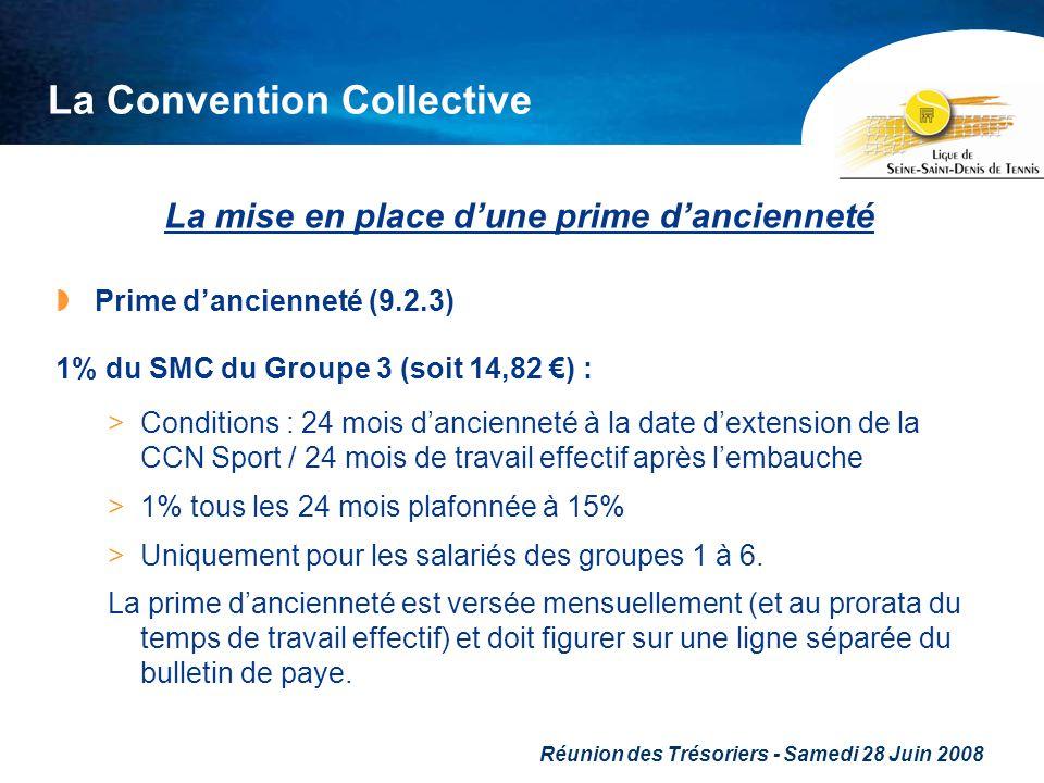 Réunion des Trésoriers - Samedi 28 Juin 2008 La Convention Collective La mise en place dune prime dancienneté Prime dancienneté (9.2.3) 1% du SMC du G