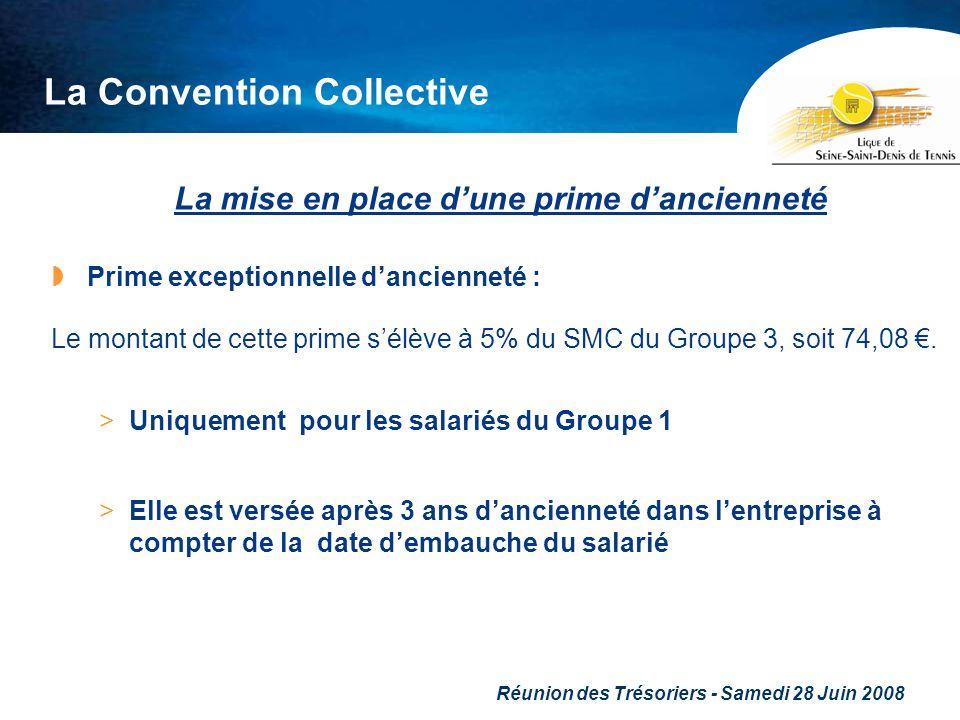 Réunion des Trésoriers - Samedi 28 Juin 2008 La Convention Collective La mise en place dune prime dancienneté Prime exceptionnelle dancienneté : Le mo