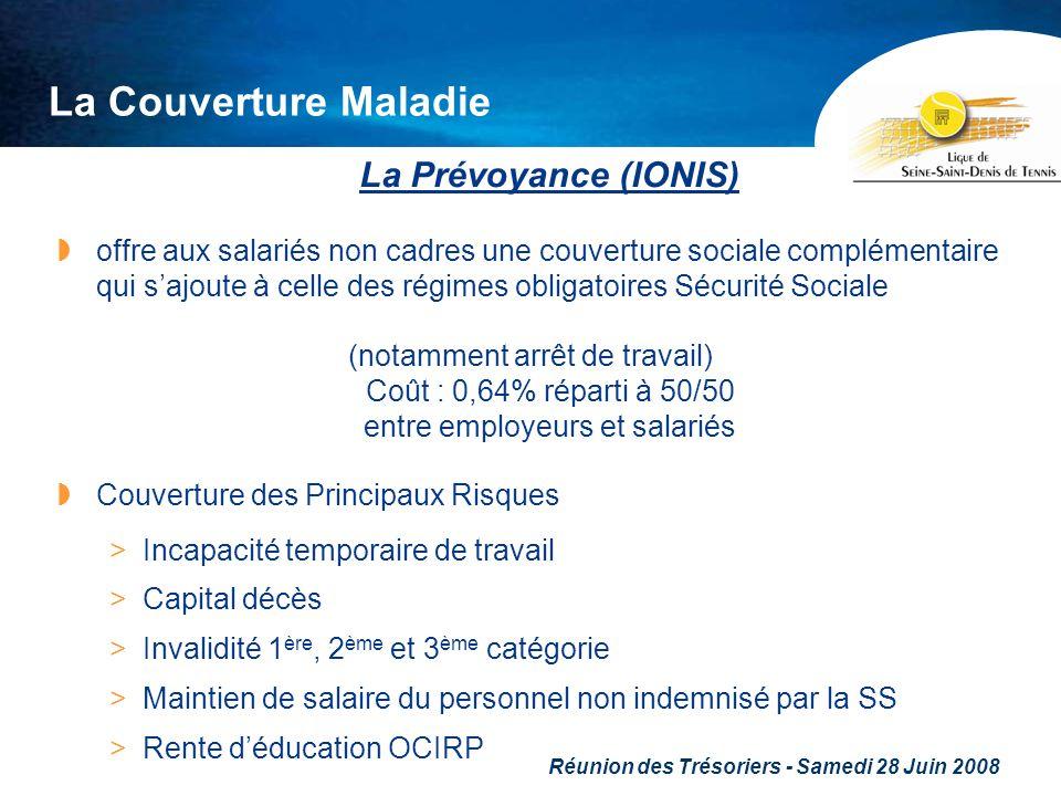 Réunion des Trésoriers - Samedi 28 Juin 2008 La Couverture Maladie La Prévoyance (IONIS) offre aux salariés non cadres une couverture sociale compléme