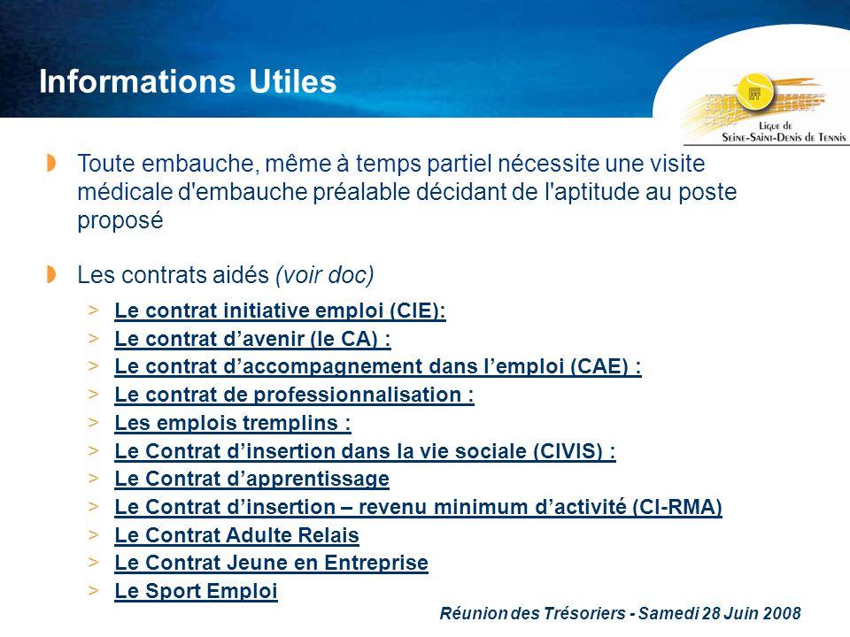 Réunion des Trésoriers - Samedi 28 Juin 2008 Informations Utiles Toute embauche, même à temps partiel nécessite une visite médicale d'embauche préalab