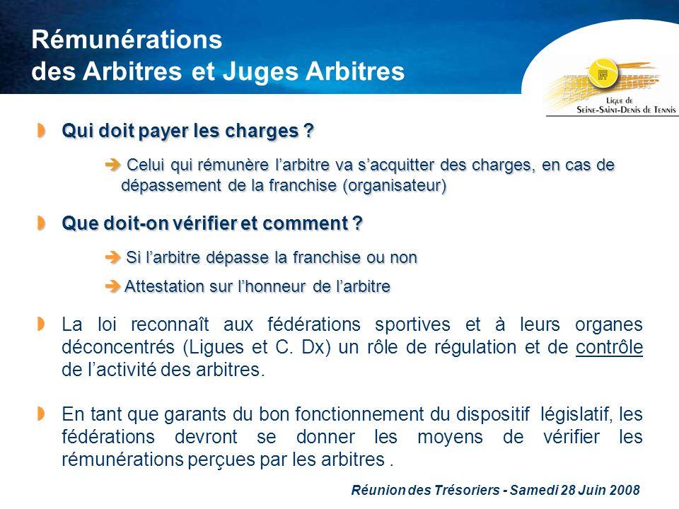 Réunion des Trésoriers - Samedi 28 Juin 2008 Rémunérations des Arbitres et Juges Arbitres Qui doit payer les charges ? Qui doit payer les charges ? Ce