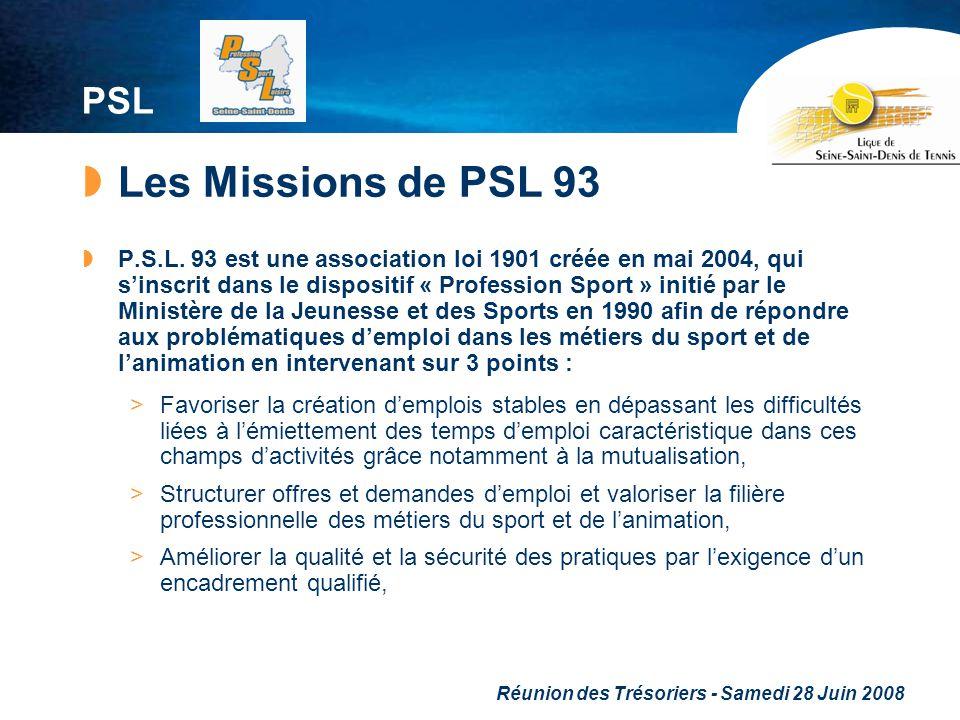 Réunion des Trésoriers - Samedi 28 Juin 2008 PSL Les Missions de PSL 93 P.S.L. 93 est une association loi 1901 créée en mai 2004, qui sinscrit dans le