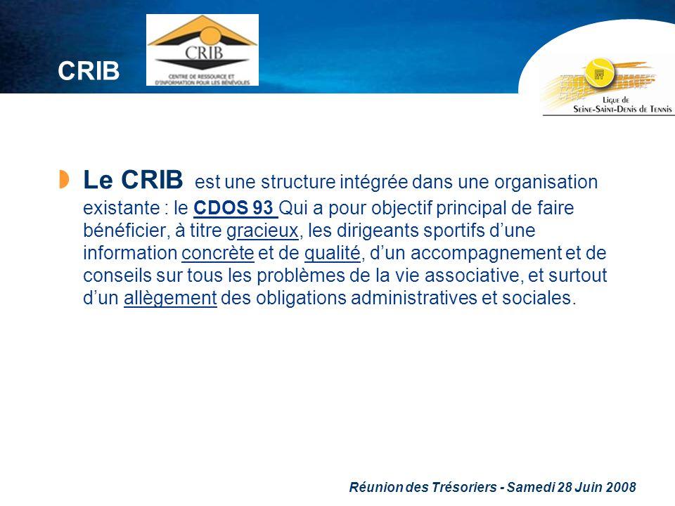 Réunion des Trésoriers - Samedi 28 Juin 2008 CRIB Le CRIB est une structure intégrée dans une organisation existante : le CDOS 93 Qui a pour objectif