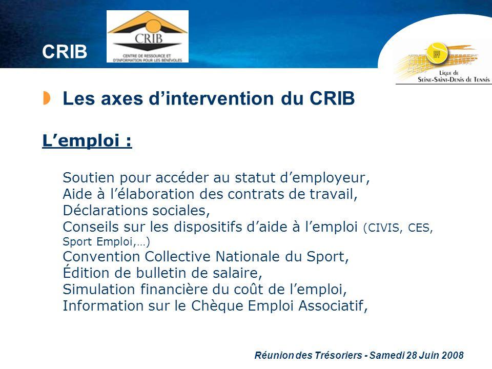Réunion des Trésoriers - Samedi 28 Juin 2008 CRIB Les axes dintervention du CRIB Lemploi : Soutien pour accéder au statut demployeur, Aide à lélaborat