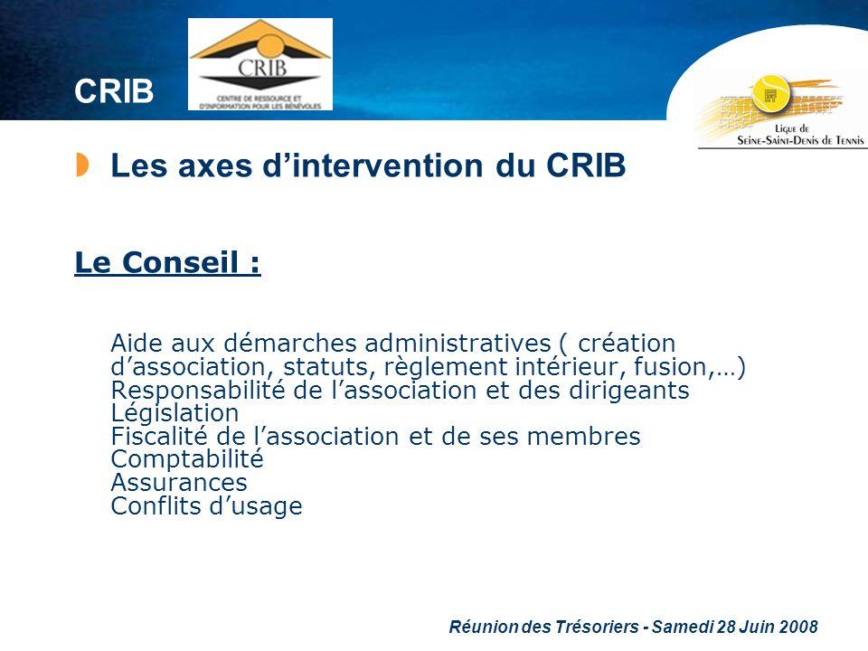 Réunion des Trésoriers - Samedi 28 Juin 2008 CRIB Les axes dintervention du CRIB Le Conseil : Aide aux démarches administratives ( création dassociati