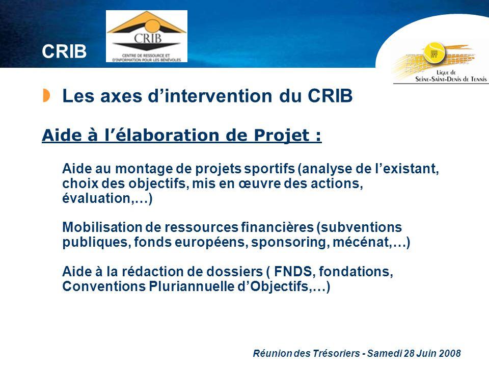 Réunion des Trésoriers - Samedi 28 Juin 2008 CRIB Les axes dintervention du CRIB Aide à lélaboration de Projet : Aide au montage de projets sportifs (