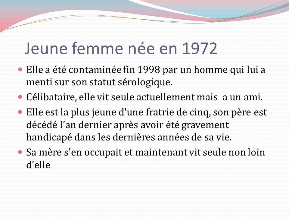 Jeune femme née en 1972 Elle a été contaminée fin 1998 par un homme qui lui a menti sur son statut sérologique.