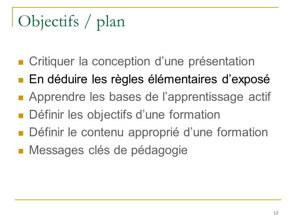 Objectifs / plan Critiquer la conception dune présentation En déduire les règles élémentaires dexposé Apprendre les bases de lapprentissage actif Définir les objectifs dune formation Définir le contenu approprié dune formation Messages clés de pédagogie 13