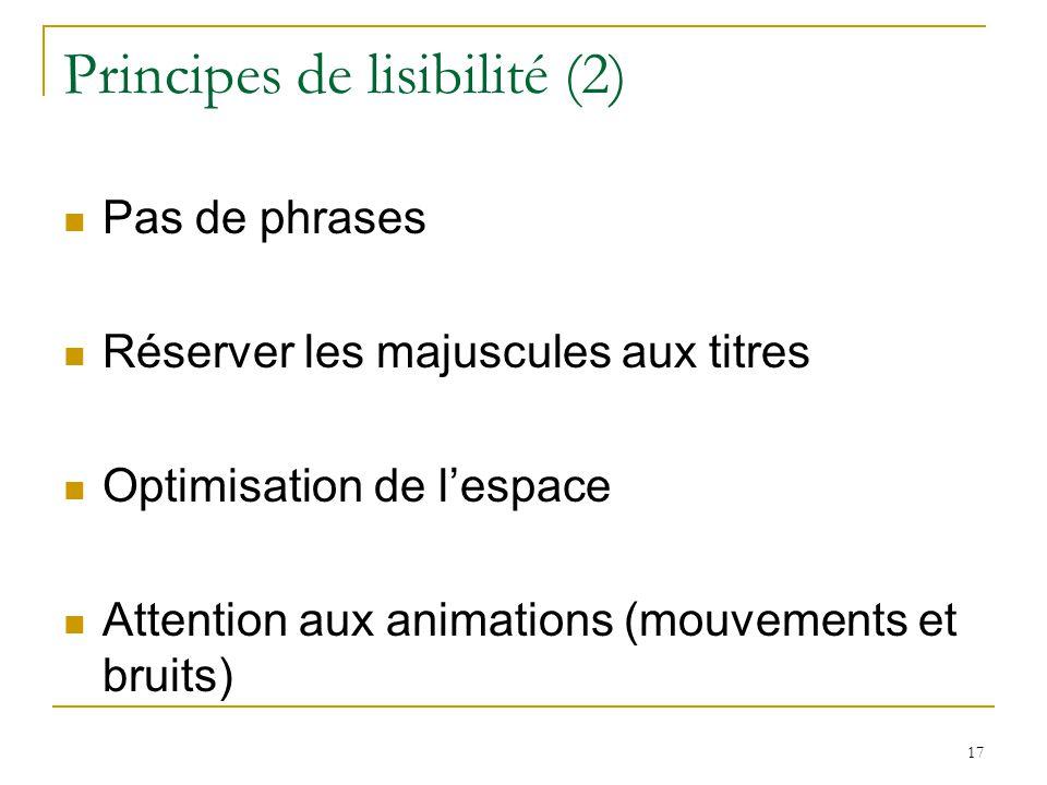 Principes de lisibilité (2) Pas de phrases Réserver les majuscules aux titres Optimisation de lespace Attention aux animations (mouvements et bruits) 17