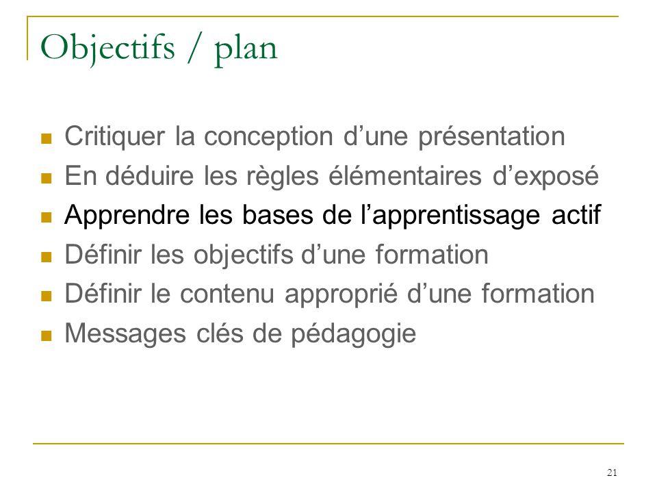 Objectifs / plan Critiquer la conception dune présentation En déduire les règles élémentaires dexposé Apprendre les bases de lapprentissage actif Définir les objectifs dune formation Définir le contenu approprié dune formation Messages clés de pédagogie 21