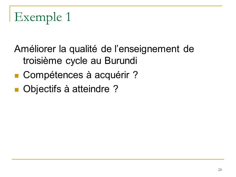 Exemple 1 Améliorer la qualité de lenseignement de troisième cycle au Burundi Compétences à acquérir ? Objectifs à atteindre ? 26