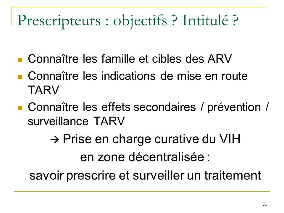 Prescripteurs : objectifs ? Intitulé ? Connaître les famille et cibles des ARV Connaître les indications de mise en route TARV Connaître les effets se