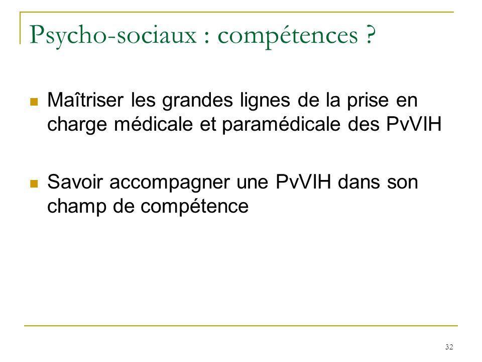 Psycho-sociaux : compétences ? Maîtriser les grandes lignes de la prise en charge médicale et paramédicale des PvVIH Savoir accompagner une PvVIH dans