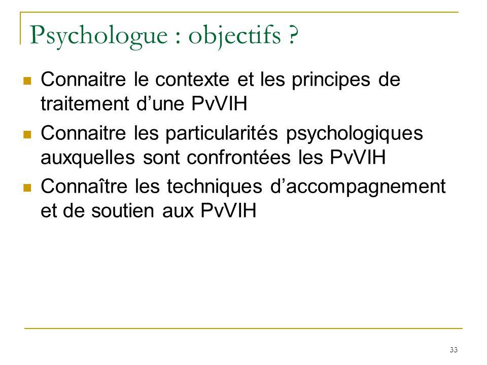 Psychologue : objectifs ? Connaitre le contexte et les principes de traitement dune PvVIH Connaitre les particularités psychologiques auxquelles sont