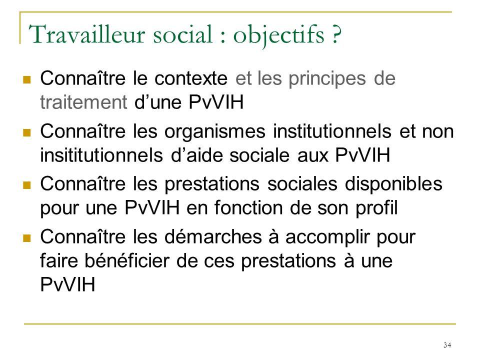 Travailleur social : objectifs ? Connaître le contexte et les principes de traitement dune PvVIH Connaître les organismes institutionnels et non insit