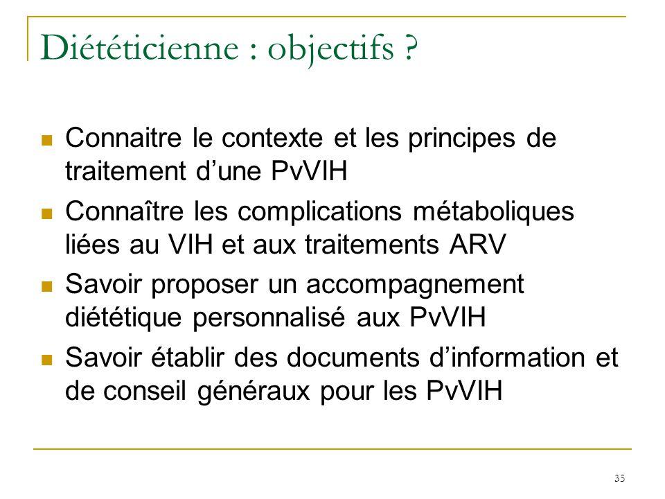 Diététicienne : objectifs ? Connaitre le contexte et les principes de traitement dune PvVIH Connaître les complications métaboliques liées au VIH et a