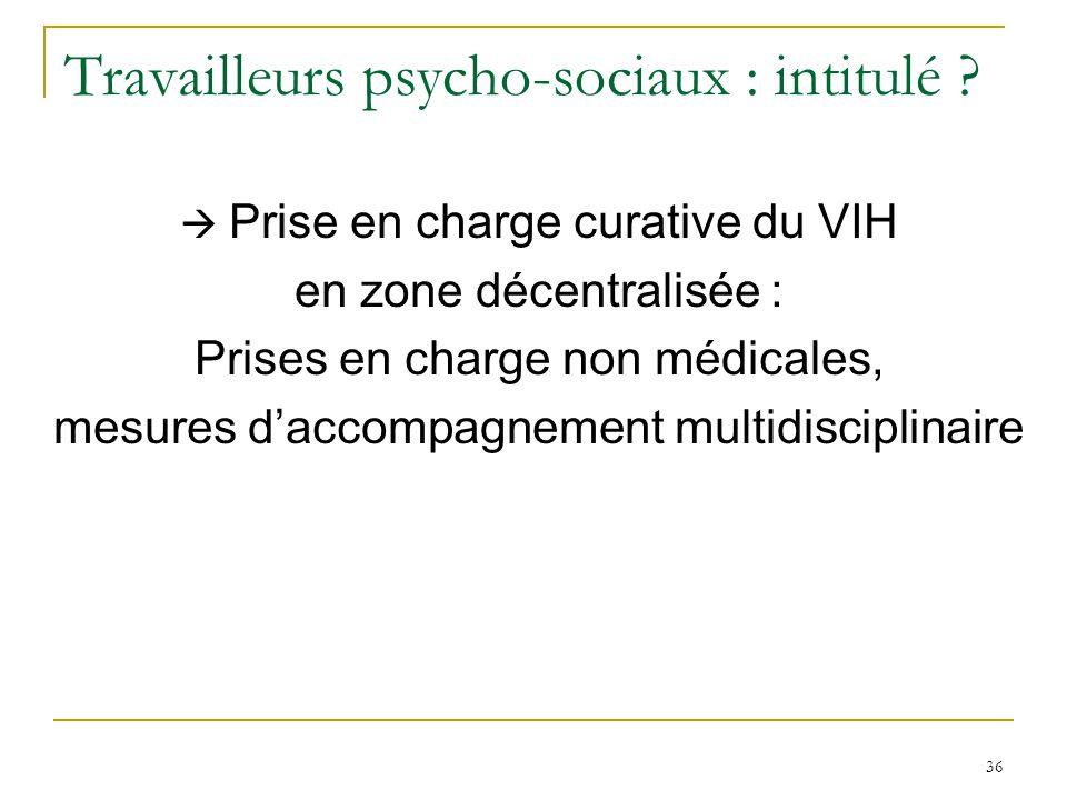 Travailleurs psycho-sociaux : intitulé ? Prise en charge curative du VIH en zone décentralisée : Prises en charge non médicales, mesures daccompagneme