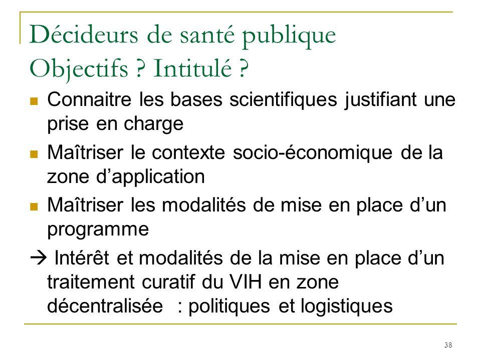 Décideurs de santé publique Objectifs .Intitulé .